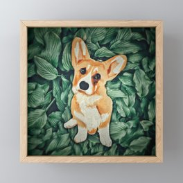 Mia the Corgi Framed Mini Art Print