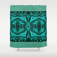 malachite Shower Curtains featuring Malachite in its rough form by BURPdesigns