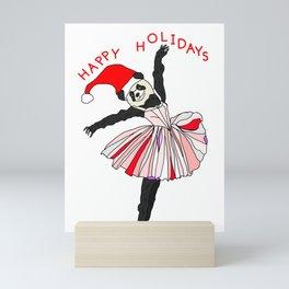 Happy Holidays Secret Santa Panda Ballerina Mini Art Print
