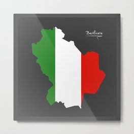 Basilicata map with Italian national flag illustration Metal Print