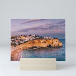 Carvoeiro town and beach in Lagoa, Algarve, Portugal. Mini Art Print