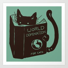 World Domination for Cats (Green) Art Print