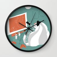 tv Wall Clocks featuring TV by monrix