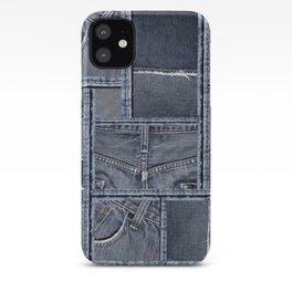 Blue Jeans Denim Patchwork Pattern iPhone Case