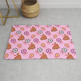 funny baby llamas, vintage retro lollipop candy with ribbons. Cute pattern Rug