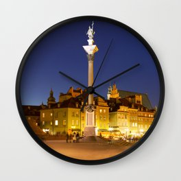 Castle Square in Warsaw, Poland at night Wall Clock
