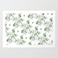 penis Art Prints featuring Penis Pattern GREEN by Daniel McLaren