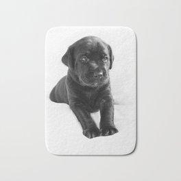 Black labrador puppy Bath Mat