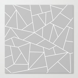 White Mosaic Lines On Silver Gray Canvas Print