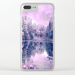 Pink Lavender Winter Wonderland : A Cold Winter's Night Clear iPhone Case