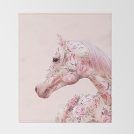 FLORAL HORSE Throw Blanket