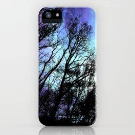 black trees periwinkle blue aqua space iPhone Case
