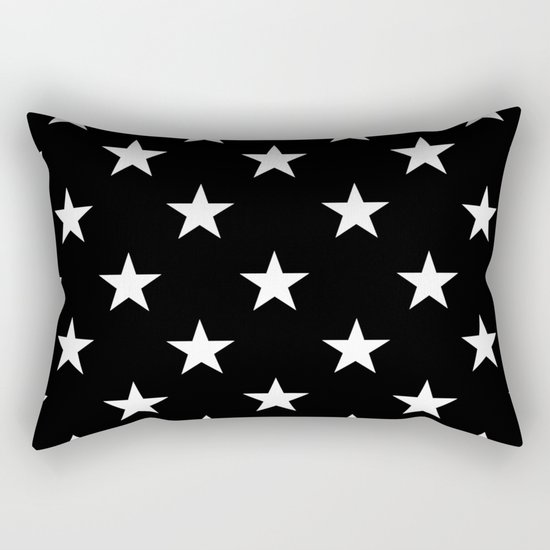 Stars (White/Black) Rectangular Pillow
