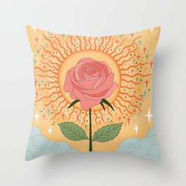 Protected by the golden light Throw Pillow