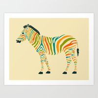 stripe Art Prints featuring Zebra by Jazzberry Blue