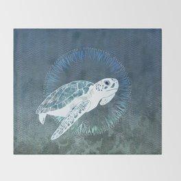 Green Sea Turtle Wreath Throw Blanket