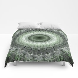 Mandala in green and gray tones Comforters