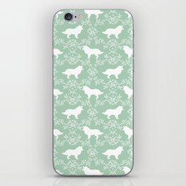 Border Collie silhouette minimal floral florals dog breed pet pattern mint and white iPhone Skin
