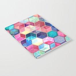 Topaz & Ruby Crystal Honeycomb Cubes Notebook