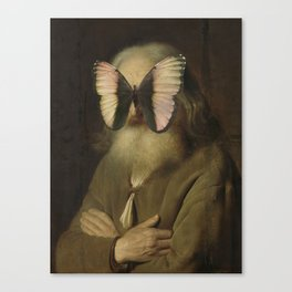 Old Man with a Butterfly Canvas Print