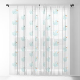 Baby blue rubber duck Sheer Curtain