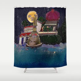 Full Moon Castle Shower Curtain