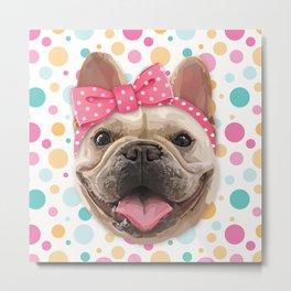 Cute Bulldog with Headband Metal Print