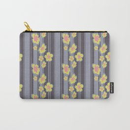 Hibiscus Floral Striped Print Carry-All Pouch
