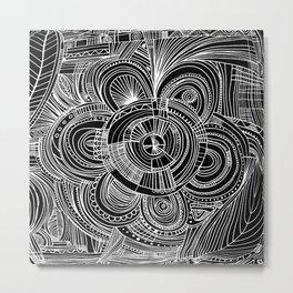 Black white hand painted zentangle floral motif Metal Print