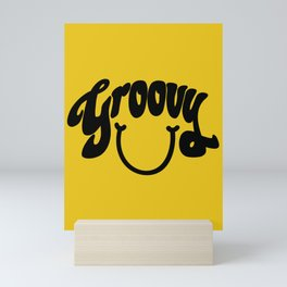 Groovy Smile // Black Smiley Face Fun Retro 70s Hippie Vibes Mustard Yellow Lettering Typography Art Mini Art Print