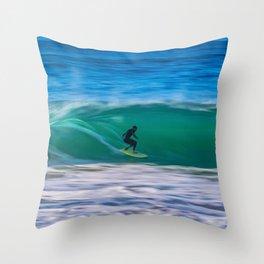 Long Shutter Speed Surfer Throw Pillow