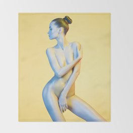 Nude Woman Before Yellow Background Throw Blanket