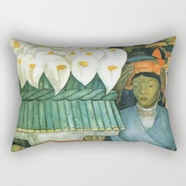 Calla Lily Seller at the Friday of Sorrows on the Canal Santa Anita, Mexico landscape by Diego River Rectangular Pillow
