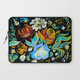 Colorful floral abstraction #2 acrylic painting , flower acrylic painting on a black background Laptop Sleeve