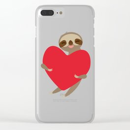 Funny sloth with a red heart Clear iPhone Case