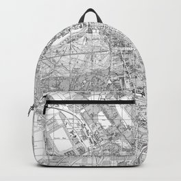 Vintage Map of Berlin Germany (1877) BW Backpack