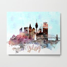 Sydney watercolor skyline design Metal Print