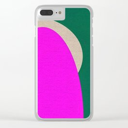 Abstract Composition in Green and Fuchsia Clear iPhone Case
