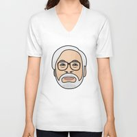 hayao miyazaki V-neck T-shirts featuring Hayao Miyazaki Portrait - Black by Cedric S Touati