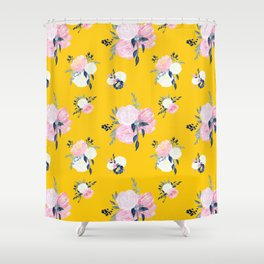 Spring Florals on Mustard Yellow Shower Curtain