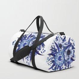 Blue China Porcelain, Flower, Floral Duffle Bag