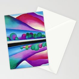 Lake George Reflection landscape painting by Georgia O'Keeffe Stationery Cards