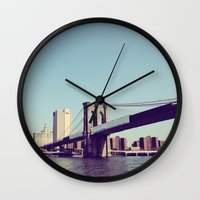 brooklyn bridge Wall Clocks featuring Brooklyn Bridge  by Shilpa