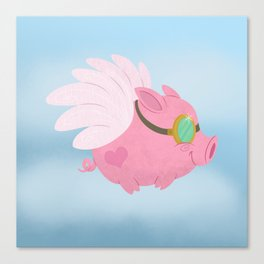 Flying Pink Pig Canvas Print