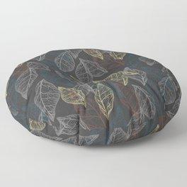 Dryed leaves, leaves silhouettes. Skeleton colored leaves. Autumn illustration. Lines on dark background. Floor Pillow