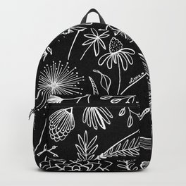 Floral Pattern II Black and White Backpack