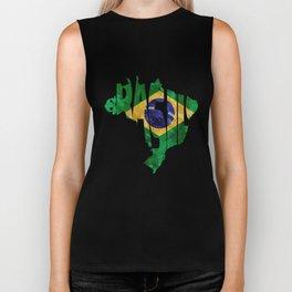 Brasil Typographic World Map / Brasil Typography Flag Map Art Biker Tank