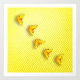 Butterflies on buttercup yellow chevron pattern Art Print