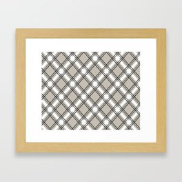 Black, Grey and White Criss-Cross Plaid Pattern Framed Art Print