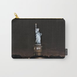 Nighttime Statue of Liberty and Flag Carry-All Pouch